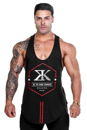 regata-cavada-fitness-masculina-preta-algodao-hexagon-bulking-frente